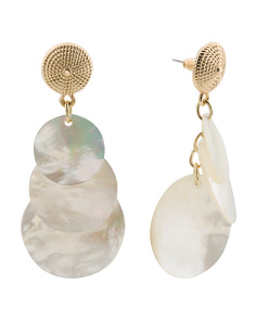 Gold Tone Mother Of Pearl Triple Round Earring