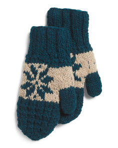 Made In Nepal Wool Mani Mittens With Fleece Lining
