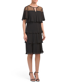 Sheer Yoke Tiered Dress