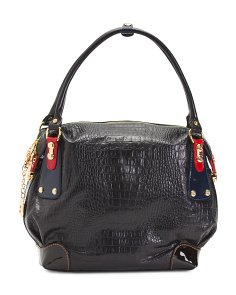 Made In Italy Leather Embossed Hobo