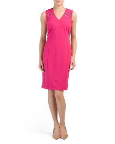 Sleeveless Havana Crepe Scuba Dress