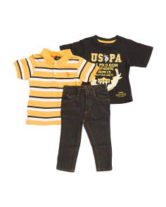 Toddler Boys 3pc Polo Tee & Pant Set