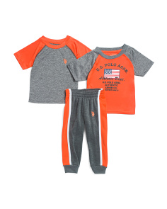 Toddler Boys 3pc Active Shirt & Pant Set