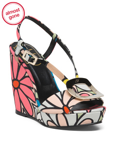 Made In Italy Floral Wedge Sandals