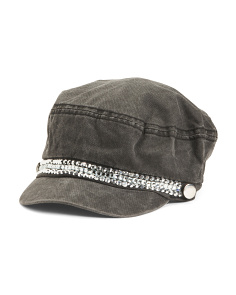 Denim Cabbie Hat With Rhinestones