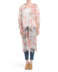 Floral And Palm Print Long Kimono