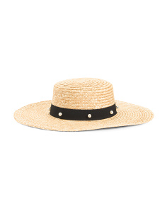 Floppy Straw Hat With Pearl Accents