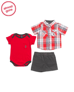 Newborn Boys 3pc Woven Tee & Short Set
