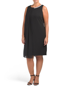 Plus Envelope Pleat Front Dress