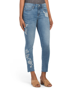 High Rise Embroidered Jeans