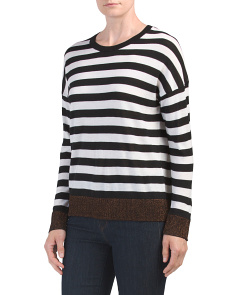 Merino Wool Blend Striped Crew Neck Sweater