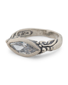 Made In Israel Sterling Silver Cz Marquis Ring