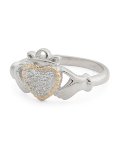 14k Gold And Sterling Silver Cz Heart Claddagh Ring