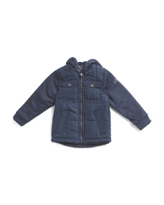 Little Boys Mixed Media Quilted Hooded Jacket