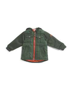 Toddler Mixed Media Hooded Quilted Jacket