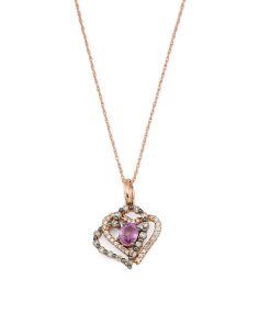 14k Rose Gold Pink Sapphire And Diamond Heart Necklace
