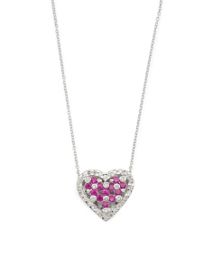 14k White Gold Ruby And Diamond Heart Necklace