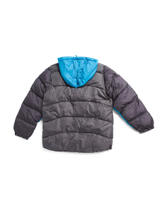 Big Boys Color Block Heathered Puffer Jacket