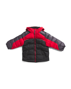 Little Boys Color Block Heathered Puffer Jacket
