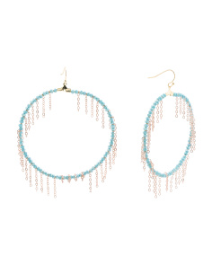 Fringe Frontal Hoop Earrings