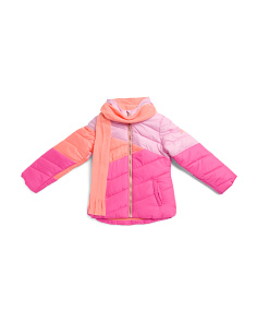 Big Girls Color Block Puffer Jacket With Scarf