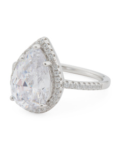 Sterling Silver Cz Pear Halo Ring