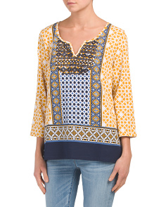 Printed Top With Crochet Detail