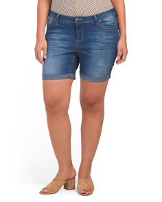 Plus Rolled Cuff Jean Shorts
