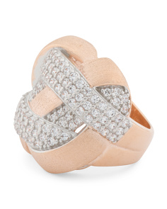Made In Italy 14k Rose Plated Sterling Silver Pave Cz Ring