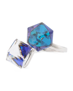 Sterling Silver Swarovski Crystal Large Cube Ring