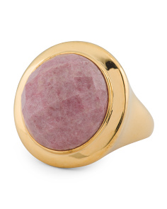 Made In Italy 18k Gold Plated Sterling Silver Rhodonite Ring