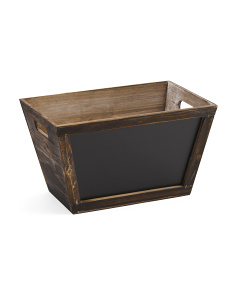 Tapered Wood Storage With Chalkboard