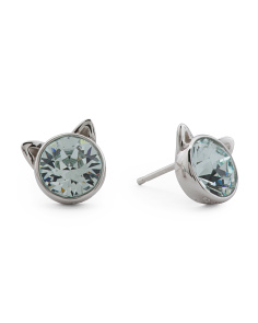 Sterling Silver Swarovski Crystal Light Azore Cat Earrings