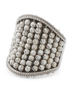 Made In Italy Sterling Silver Diamond Cut Beaded Ring