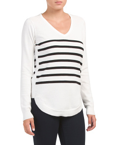 V Neck Round Hem Striped Sweater