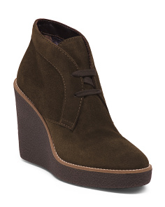 Made In Italy Suede Wedge Booties