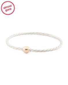 14k Gold And Sterling Silver Twist Ball Bracelet