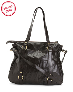 Leather Tote With Messenger Strap
