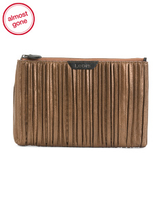 Pleasantly Pleated Flat Leather Pouch