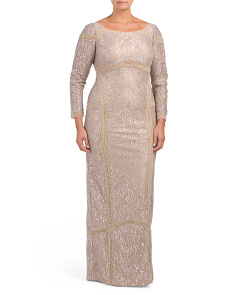 Plus Beaded Lace Gown