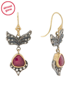 Handcrafted In Usa 22k Gold Sterling Silver Diamond Ruby Earrings