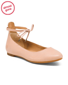Ankle Tie Leather Ballet Flats