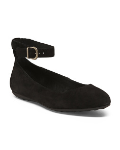 Comfort Ankle Strap Suede Flats