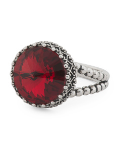 Sterling Silver Swarovski Crystal Scarlet Circle Ring