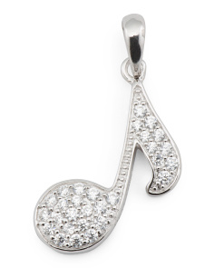 Sterling Silver Pave Cz Music Note Charm