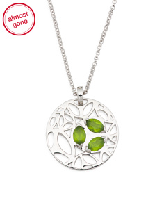 Made In Italy Sterling Silver Green Quartz Ricamo Necklace