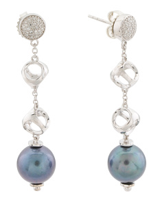Made In Italy Sterling Silver Pearl Diamond Icona Earrings
