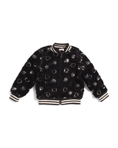 Little Girls Sequin Heart Faux Fur Jacket