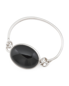 Made In Italy Sterling Silver Black Agate Sahara Bracelet