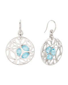 Made In Italy Sterling Silver Blue Quartz Ricamo Earrings